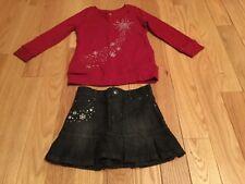 Gymboree Penguin Chalet Outfit Sz3/4 Shirt & New Adj Waist Jean Skirt Snowflake