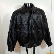 MISTY HARBOR Soft LEATHER JACKET Mens Size L Black insulated w/ liner
