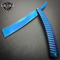 Blue FADE Straight Blade Barber Razor Folding Pocket Knife Shaving Cut Throat