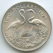 GS1248 - Bahamas 2 Dollars 1973 KM#23 Silber Flamingos Queen Elizabeth II.