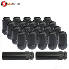 "20 Black 6-Spline Tuner Wheel Lug Nuts M12x1.5 for Toyota Acura Chevy 1.4"" Tall"