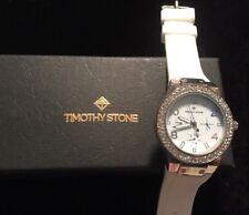 Timothy Stone White Swarovski Crystal Wristwatch Silicone Band Round New w/ Box