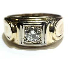 14k yellow gold .55ct SI1 J-K diamond mens solitaire band ring 6.1g gents