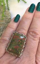 Unakite Quartz 925 Silver Ring India Size O Reiki Pagan Wicca Ethnic Gift Summer