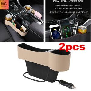 2PC Dual USB Car Seat Gap Catcher Storage Box Organizer Cup Crevice Pocket