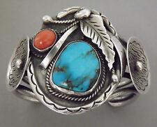 Ca. 1960s SK NAVAJO Bisbee Turquoise Coral .925 Silver Split-Band Cuff Bracelet