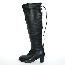 ANN DEMEULEMEESTER chunky high heeled knee high leather lace wrap boots 38.5/8.5