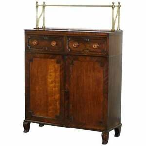 STUNNING REGENCY CHIFFONIER WITH LARGE BRASS GALLERY & FLAMED MAHOGANY SIDEBOARD