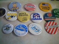 TRANSPORTATION HOTELS, TRAINS, PLANES, SHIPS, INSURANCE, PIN BACK BUTTONS