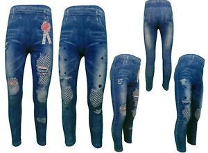 Leggins Mädchen Jeans Optik Hose Jeggins Neu 98-152 SH-102, SH-103