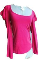FREE PEOPLE Womens Long Puffed Sleeve Red Top With Scoop Neck Size Small Petite