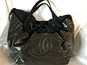 Authentic CHANEL Cabas Spirit Patent Leather Tote Bag.