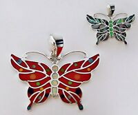 SIMPLY AMAZING TURQUOISE/MULTICOLOR INLAY IN .925 SILVER BUTTERFLY PENDANT