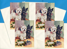 WESTIE & SCOTTIE SCOTTISH TERRIER WITH GIFT 4 DOG PRINT GREETING CHRISTMAS CARDS