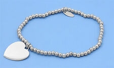Italian Bracelet with Heart Charms Sterling Silver 925 Plain Jewelry 7 inches