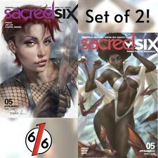 🚨🔥 SACRED SIX #5 SET OF 2 Parrillo Main & Chew Variant Dynamite Vampirella NM