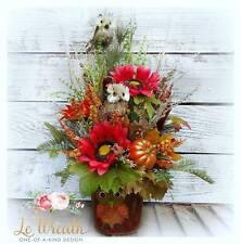 Fall Floral Arrangement Table Centerpiece Owl Decor Autumn Decorations
