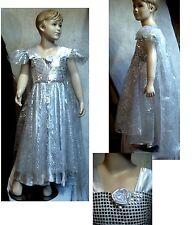 Robe princesse,tulle fleurs argenté, satin paillettes!Modèle exclusif! A SAISIR!