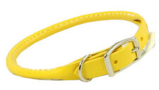 "Auburn Leather - Rolled Round Dog Collar - 12""-14"" - Yellow"