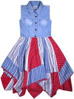 Girls New Sleeveless Denim Top Dress Kids Blue Cotton Red Heart Age 3 - 11 Years