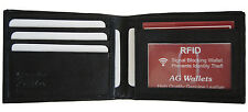 Mens Bifold Genuine Leather RFID Blocking Black Credit Card/ID Security Wallet
