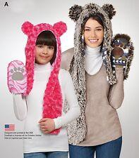 Sew & Make Simplicity 1312 SEWING PATTERN Unisex ANIMAL MOTIF WINTER SCARF HATS