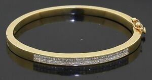 Heavy 18K yellow gold elegant 3.50CT VS Princess cut diamond bangle bracelet