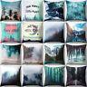 JW_ CO_ AU_ Throw Pillow Case Mountains Sea Forest Scenery Peach Skin Cushion