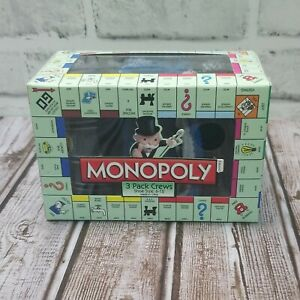 Monopoly - 3 PACK Mens Crew Socks - Size 6-12 - Uncle Pennybags