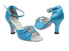 Women's Blue Flower Ballroom Salsa Mambo Latin Dance Shoes heel 2.5 Size 4.5