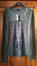 Men's Khaki Long Sleeve Waffle Top S *NEW*