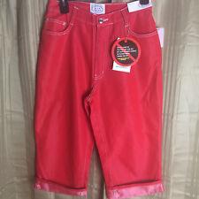 NEW Ladies Carolina Blues Size 8 Red Capri Cropped cotton jeans M Bin