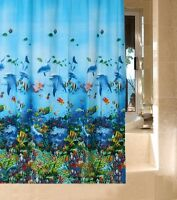 Blue Ocean Sea Life Dolphin Fish Curtain Shower Bathroom 180x180cm + Hooks Ring