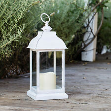 Distressed White Battery Operated Indoor LED Decorative Table Candle Lantern