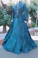 Fabulous teal green ensemble...oilcloth petticoat...crocheted buttons  c. 1880