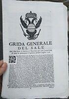 1738 5) BANDO DA PARMA : RARA GRIDA GENERALE SUL SALE PARMENSE E NEL PIACENTINO