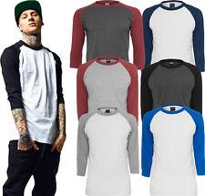Urban Classics Herren longsleeve 3/4 Arm Shirt lang oversize Pullover T-Shirt