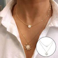 Boho Women Multi-layer Long Chain Pendant Crystal Choker Necklace Jewelry /hi