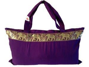 Slimline Yoga Tote  Bag with Elephant Border