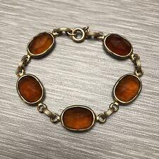 Vintage 12k Gold-filled Bracelet Faceted Cognac-Colored Glass Links