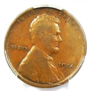 1914-D Lincoln Wheat Cent 1C - Certified PCGS F15 - Rare Key Date Penny!