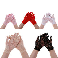 1 Pair Women lady bridal evening wedding party prom driving costume lace gloves!