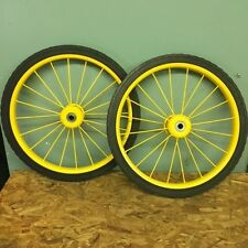 "New Pair Vendor Push Cart Custom Yellow Color Wheel Assy with 20"" NO FLAT TIRES"