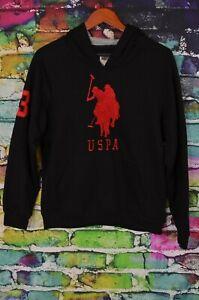 US Polo Assn Black Hoodie Sweatshirt USPA Red Logo Size 10/12