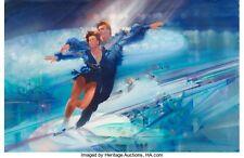 ROBERT PEAK RARE ORIGINAL PAINTING ICE SKATING DANCING 1984 OLYMPICS