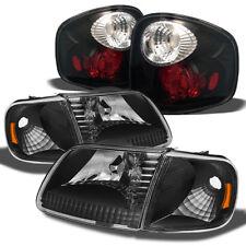 Fits 97-03 F150 Pickup BLK Headlights w/Corner Signal+Flareside BLK Tail Lights