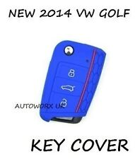 VW Volkswagen Golf MK7 Honeycomb Car Flip Key Case Skin Protection Cover D Blue
