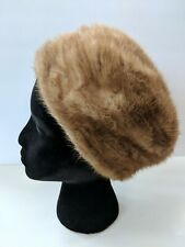 Vintage Ladies Soft Brown Real Fur Hat With Satin Interior Union Made Usa