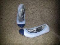 COACH-Lilac Leather w/Violet Patent Cap Toe-Silver Signature C-Ballet Flats-Sz 8