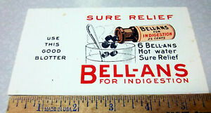 Vintage 1930 Bell-ans pills ink blotter, Sure Relief for indigestion advertising